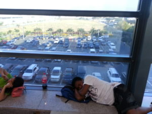 Airport window makes a good bed