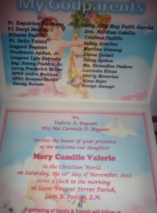 The announcement showing the Godparents.