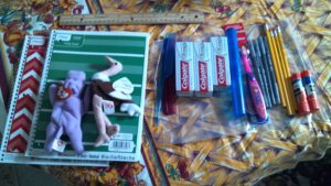 Basic gift bag that school supplies are added to.