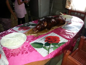 The surprise celebration of Lechon Baboy and rice.